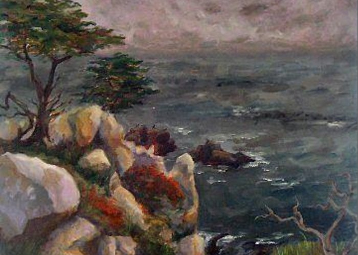 Seascape Greeting Card featuring the painting Foggy Carmel by Brenda Williams