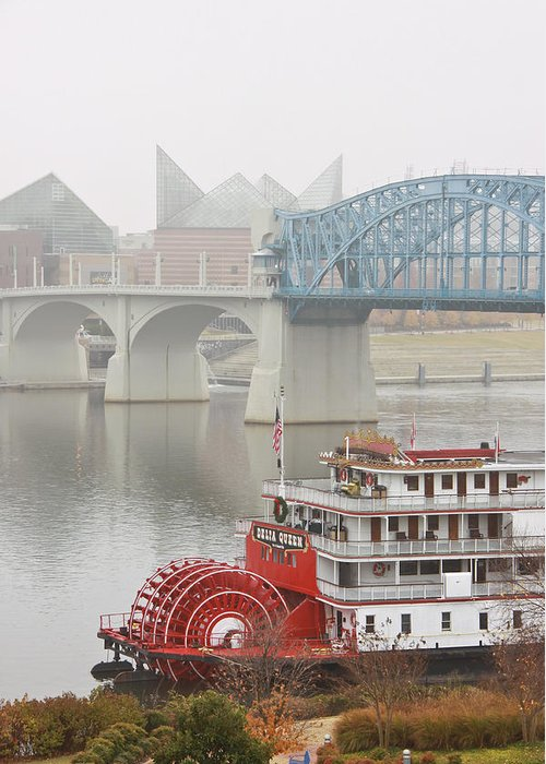 Market Street Bridge Greeting Card featuring the photograph Foggy Chattanooga by Tom and Pat Cory