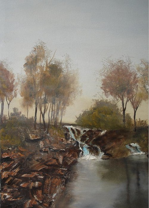 Landscape Greeting Card featuring the painting Foggy Creek by James Eugene Moore