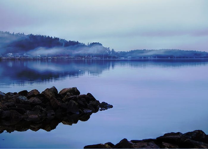 Dawn Greeting Card featuring the photograph Foggy Dawn Blue And Pink by Stephen Anthony