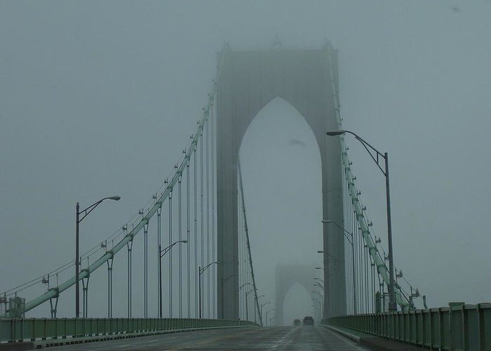 Newport Greeting Card featuring the photograph Foggy Day by Jeff Porter