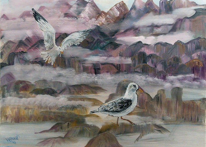 Seagulls Greeting Card featuring the painting Foggy Gulls by Mikki Alhart