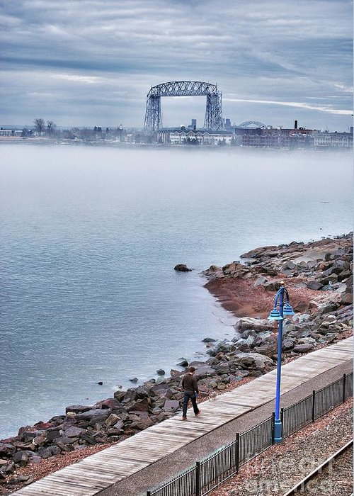 Lake Superior Greeting Card featuring the photograph Foggy Lake Superior Afternoon by Ever-Curious Photography