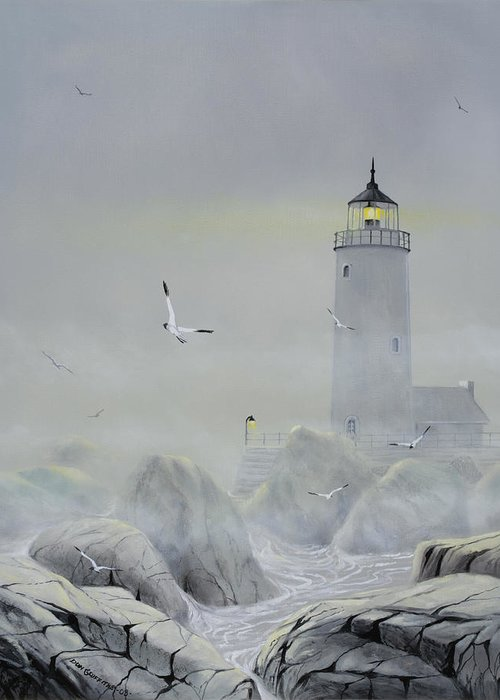 Seascape Greeting Card featuring the painting Foggy Light by Don Griffiths
