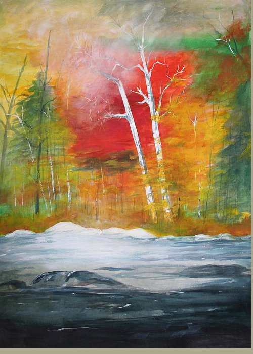 Landscape Paintings. Nature Greeting Card featuring the painting Foggy Morning 2 by Julie Lueders