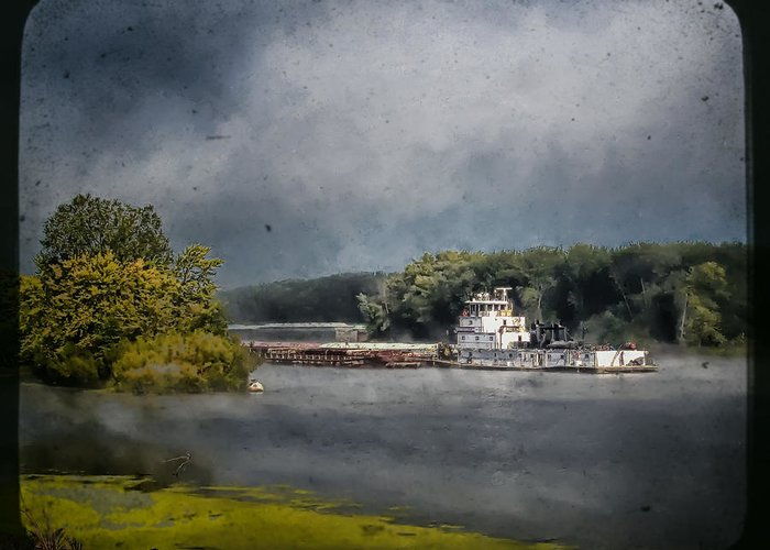 Landscape Greeting Card featuring the photograph Foggy Morning At The Barge Harbor by Al Mueller