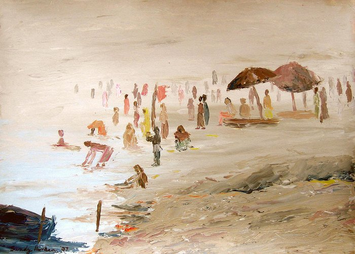 Varanasi Greeting Card featuring the painting Foggy Morning At The Ghats by Art Nomad Sandra Hansen