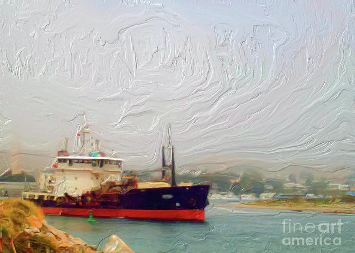 Foggy Morro Bay Greeting Card featuring the painting Foggy Morro Bay by Methune Hively