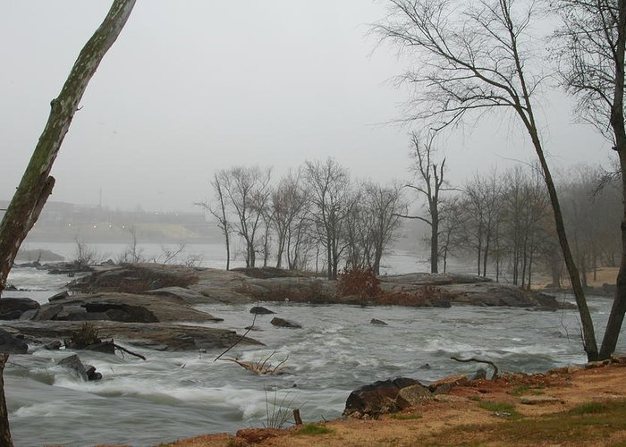River. Landscape Greeting Card featuring the photograph Foggy River by James Eugene Moore