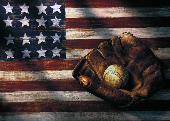 Folk Art American Flag Greeting Card featuring the photograph Folk Art American  Flag And Baseball Mitt e6492ce116b