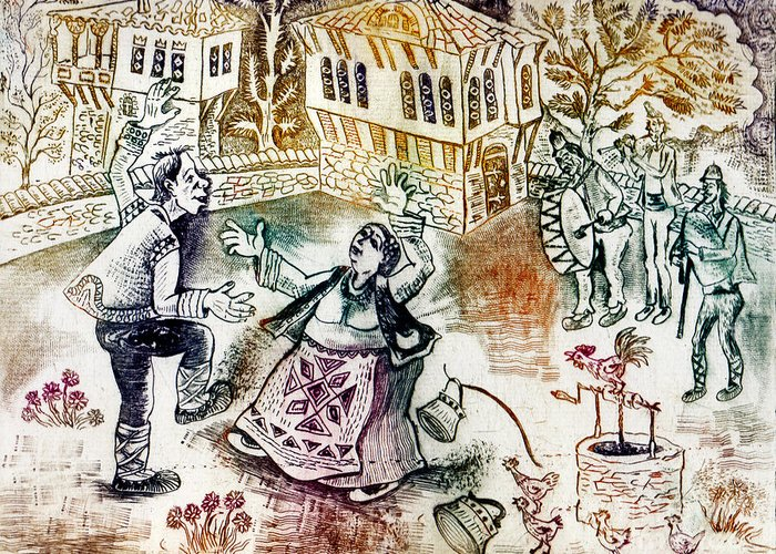 Drypoint Greeting Card featuring the drawing Folk-dancing by Milen Litchkov