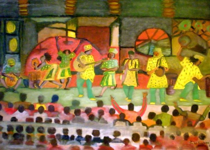 Musicians Greeting Card featuring the painting Folk Play by Philip Okoro
