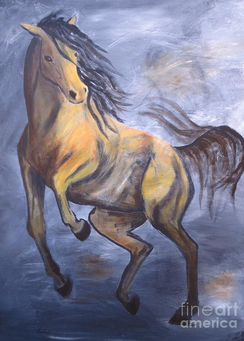 Horse Greeting Card featuring the painting Follow Me by Laurianna Taylor