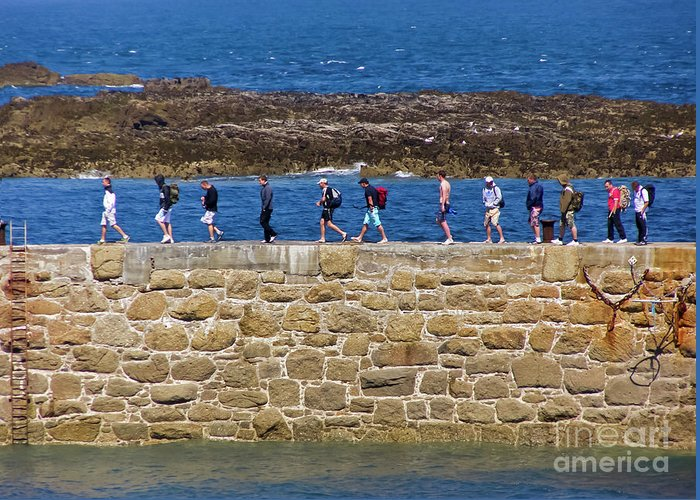 Cornwall Greeting Card featuring the photograph Follow The Yellow Brick Road by Terri Waters