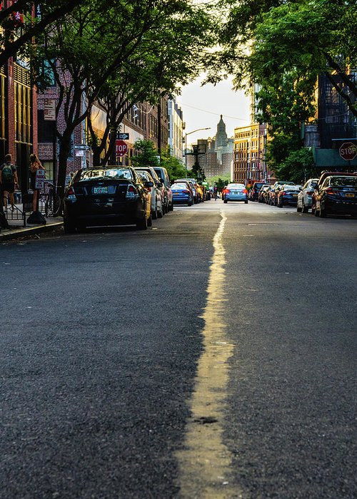 Street Greeting Card featuring the photograph Follow The Yellow Line by Alvin Espinal
