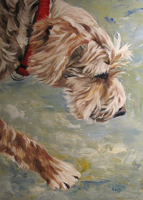 Dog Greeting Card featuring the painting Follow Your Nose by Cheryl Pass