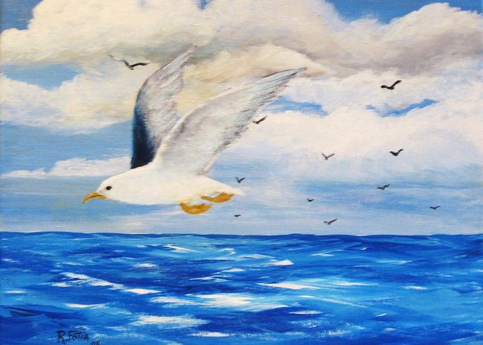 Seagulls Greeting Card featuring the painting Following Sea by Rich Fotia