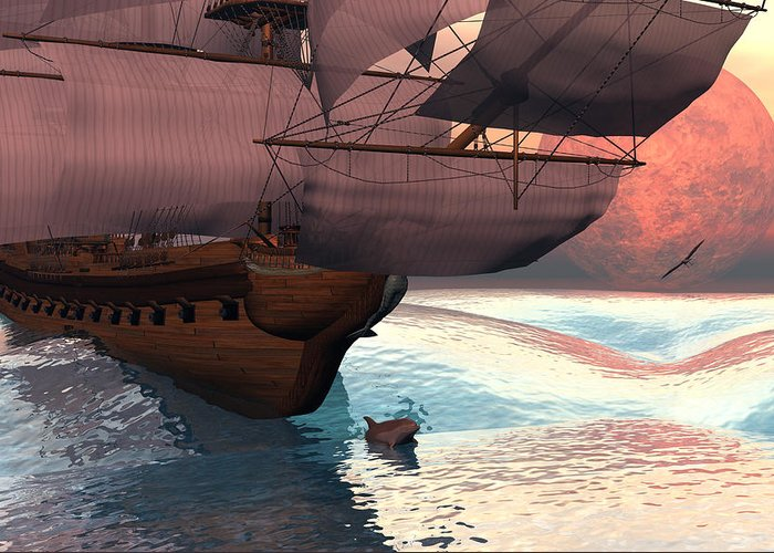 Bryce 3d Scifi Fantasy  Dolphin tall Ship Windjammer \sailing Ship\ Sailing Greeting Card featuring the digital art Following The Navigator by Claude McCoy