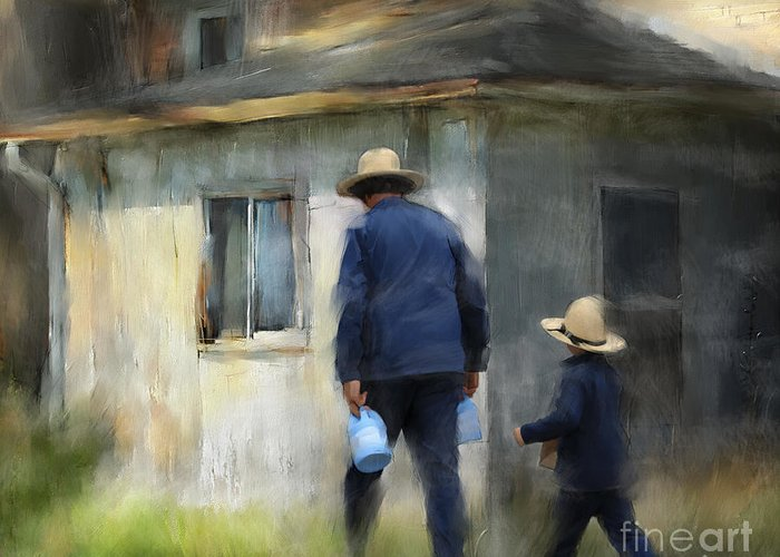 Amish Greeting Card featuring the painting Follows In His Footsteps by Bob Salo