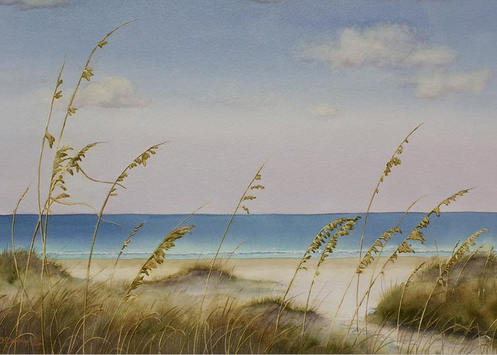 Beach Greeting Card featuring the painting Folly Beach by Cindy Davis