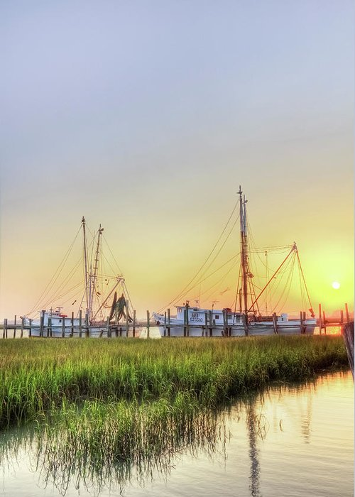 Folly Greeting Card featuring the photograph Folly Fishing Boats by Drew Castelhano