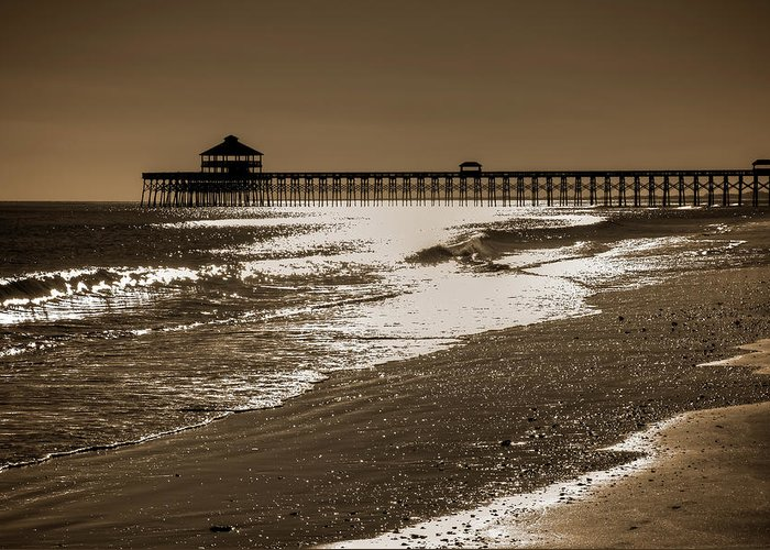 Folly Greeting Card featuring the photograph Folly Pier Sunset by Drew Castelhano