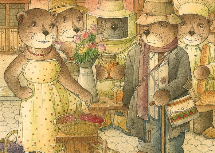 Love Bears Roses Flowers Town Berry Greeting Card featuring the painting Folrentius The Gardener07 by Kestutis Kasparavicius
