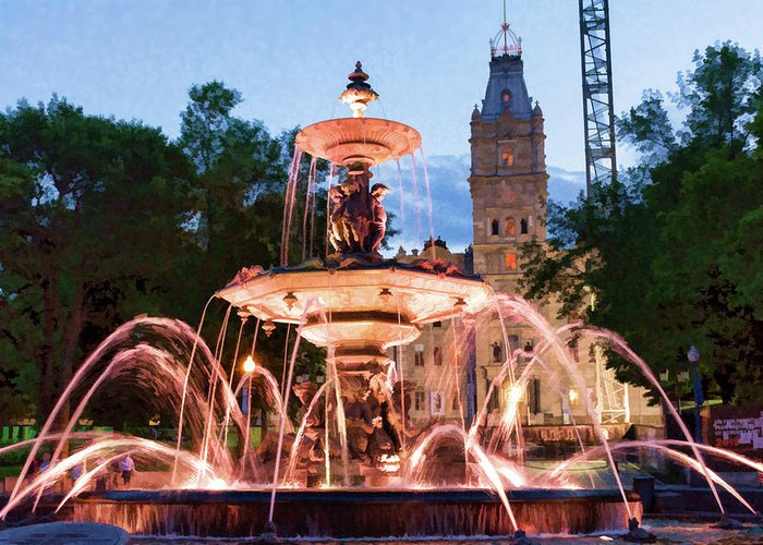 Quebec City Greeting Card featuring the photograph Fontaine De Tourny by Dave Thompsen