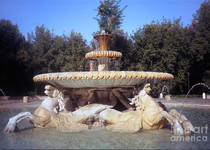 Villa Greeting Card featuring the photograph Fontana Dei Cavalli Marini by Fabrizio Ruggeri