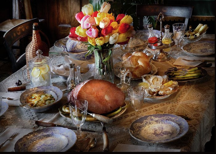 Hdr Greeting Card featuring the photograph Food - Easter Dinner by Mike Savad