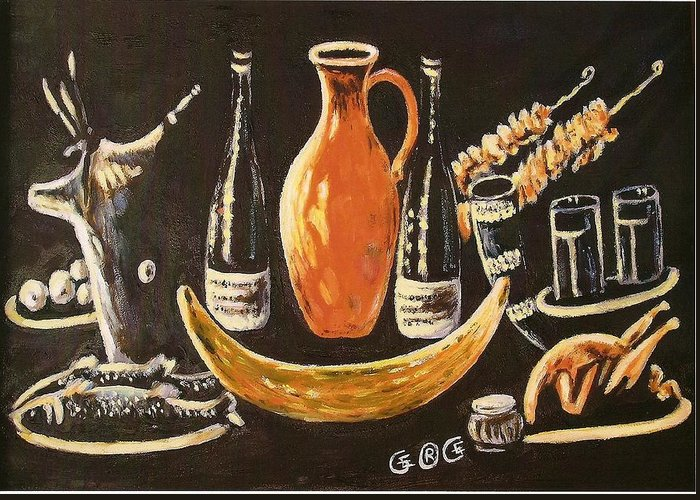 Food Greeting Card featuring the painting Food And Wine by George I Perez