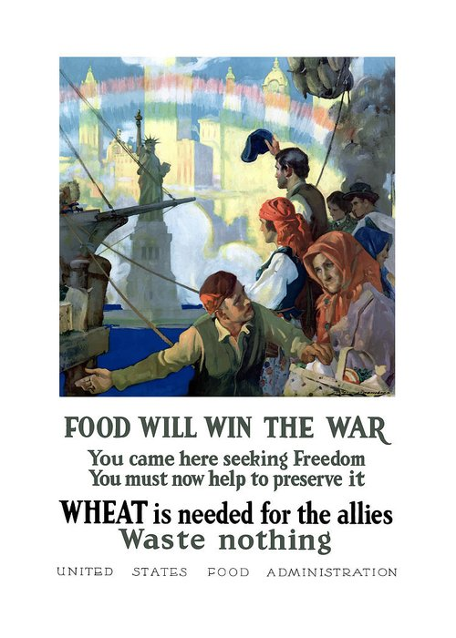 Immigrants Greeting Card featuring the painting Food Will Win The War by War Is Hell Store
