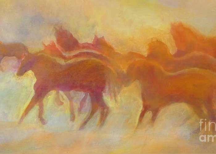 Horses Greeting Card featuring the painting Foolin Around I by Kip Decker