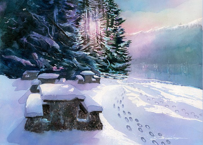 Landscape Greeting Card featuring the painting Foot Prints On Snow-port Moody by Dumitru Barliga