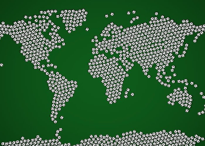 Map Of The World Greeting Card featuring the digital art Football Soccer Balls World Map by Michael Tompsett