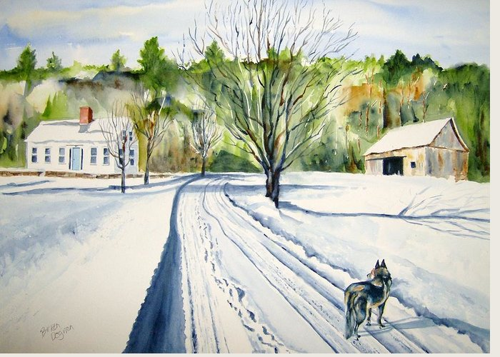 Landscape Greeting Card featuring the painting Footprints by Brian Degnon