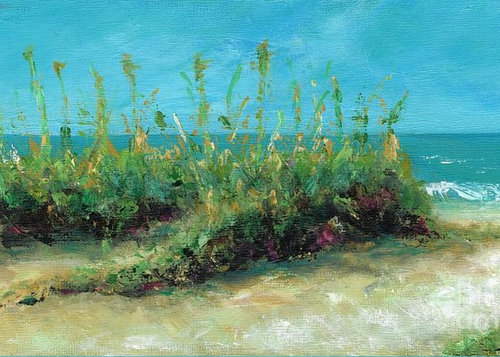 Beaches Greeting Card featuring the painting Footprints In The Sand by Frances Marino