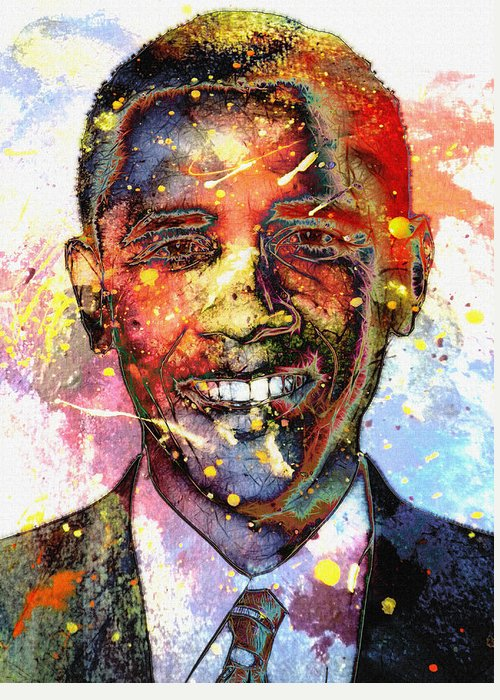 President Barack Obama Color Colored World Painting Usa Us 44th United States Greeting Card featuring the painting For A Colored World by Steve K