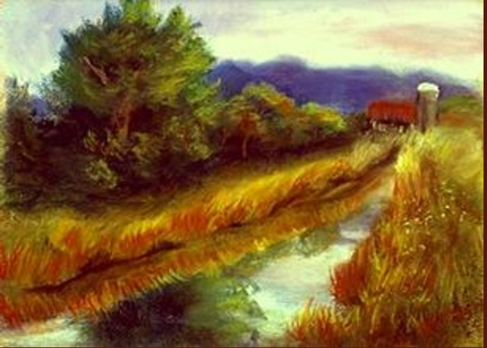 Landscape Greeting Card featuring the painting For A Thirsty Land by Gail Kirtz