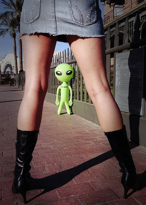 Alien Greeting Card featuring the photograph For Alien Eyes Only by Richard Henne