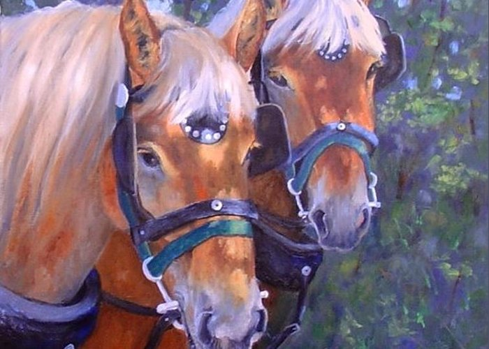 Horses Greeting Card featuring the painting For Hire by Debra Mickelson