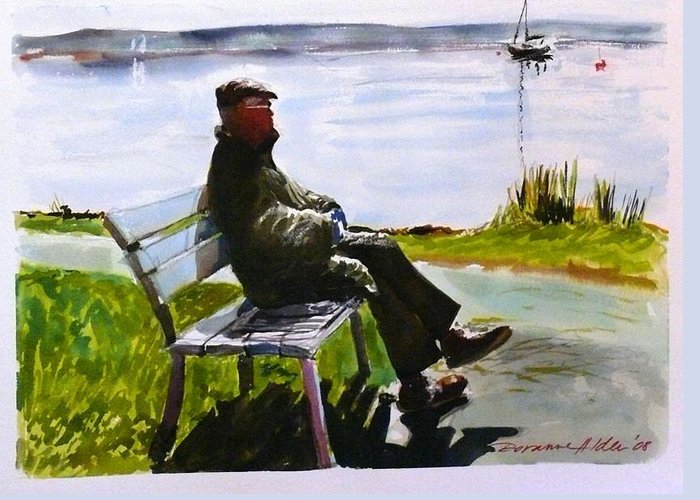 Lakeside Greeting Card featuring the painting For My Dad - With Love by Doranne Alden