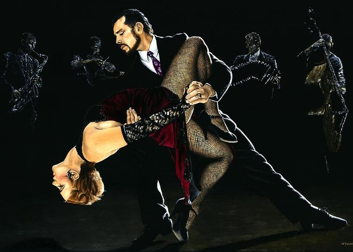 Tango Greeting Card featuring the painting For The Love Of Tango by Richard Young