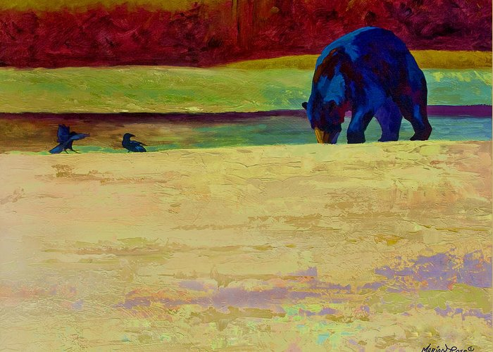 Bear Greeting Card featuring the painting Foraging At Neets Bay - Black Bear by Marion Rose