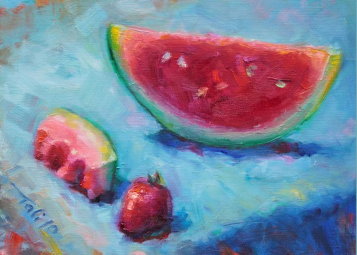 Painter Greeting Card featuring the painting Forbidden Fruit by Talya Johnson