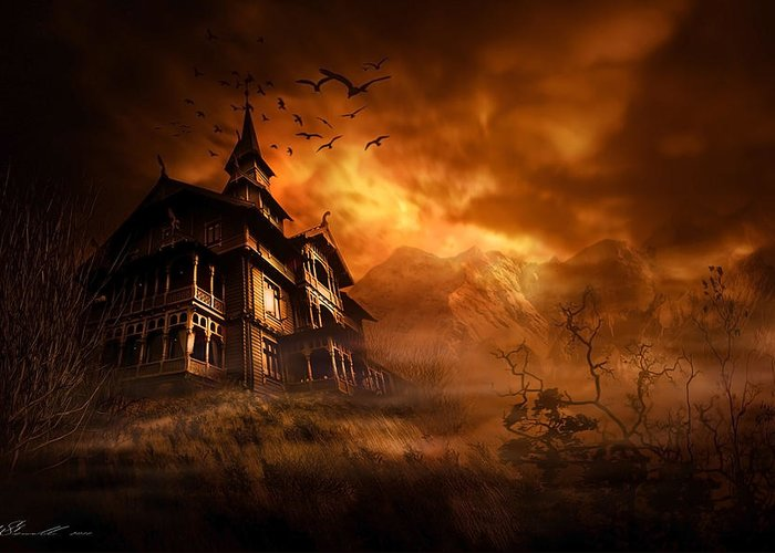 Abandoned Greeting Card featuring the digital art Forbidden Mansion by Svetlana Sewell