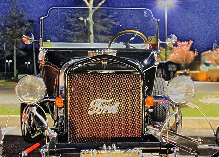Ford Hot Rod Greeting Card featuring the photograph Ford Black Hot Rod Old School by Pictures HDR