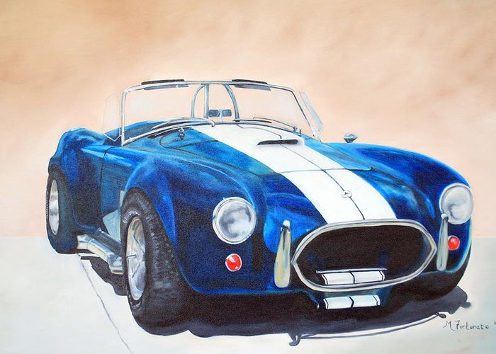 Car Greeting Card featuring the painting Ford Cobra In Oil by Margaret Fortunato