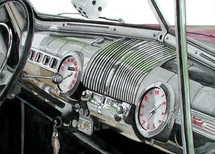 Car Greeting Card featuring the painting Ford Dash by Ferrel Cordle