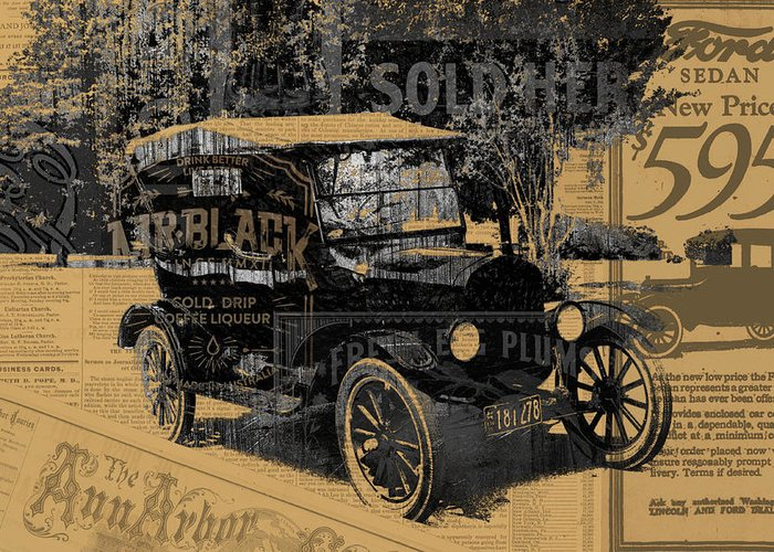 Ford Model T Car Mixed Media Greeting Cards